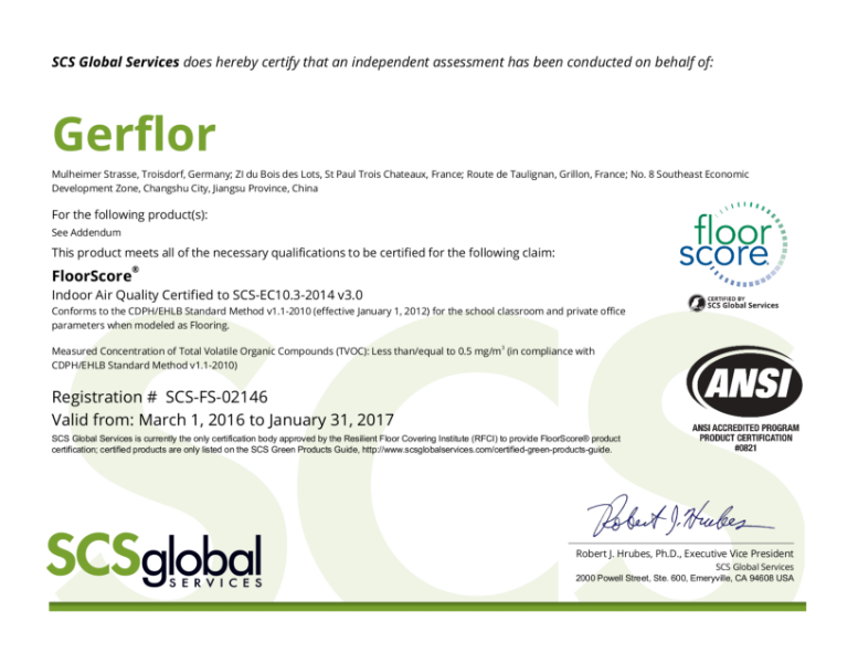 Indoor Air Quality Certificate (FloorScore® Tiles)