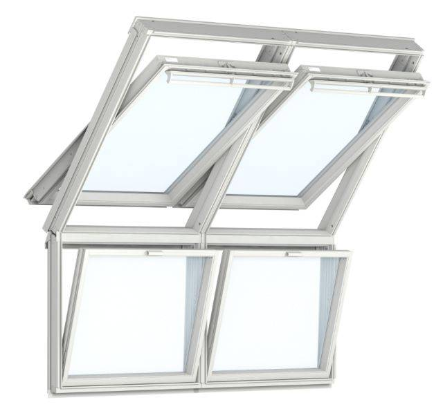 GGU Manually Operated White Polyurethane, Centre-Pivot Roof Windows with Fixed Vertical Windows Below, Twin Installation