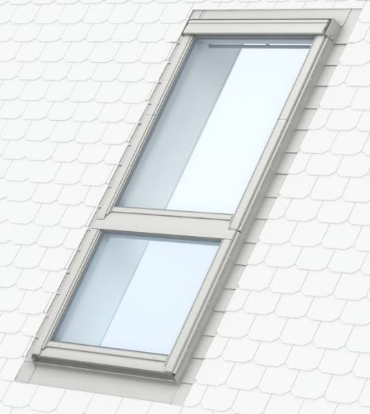 GGU manually operated, white polyurethane, centre-pivot roof window with GIU sloping fixed window below