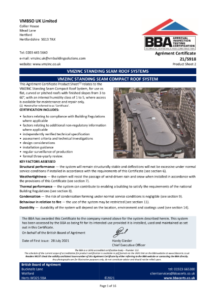 BBA Certificate for the Compact roof