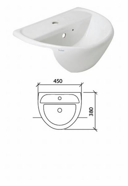 Sola Optimise Semi Recessed 1 Tap Hole Vanity Basin