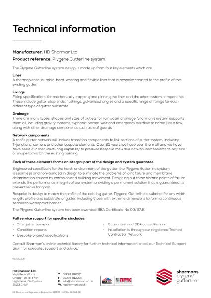 Plygene Gutterline system technical information