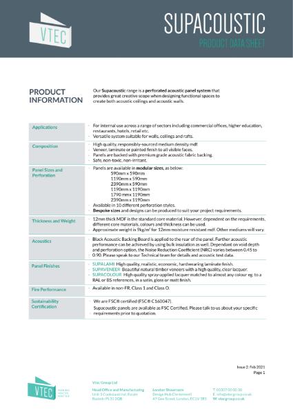 Supacoustic Data Sheet - Modular Acoustic Panel System