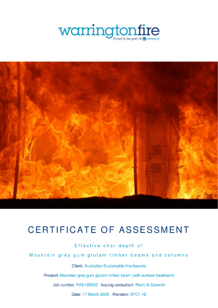 MASSLAM 50 - Certificate of assesment, effective char depth