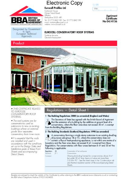 04/4156 Eurocell conservatory roof system