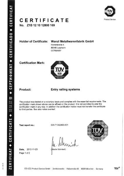 Sirio - TUV Certificate