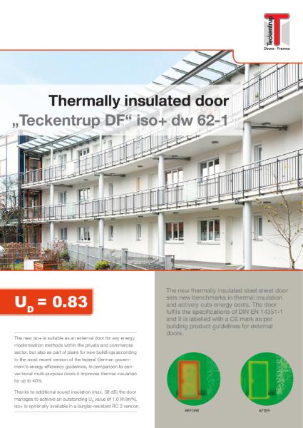 """""""Teckentrup DF iso+ dw 62-1 thermally broken steel door and doorset to RC2 and 38dB"""