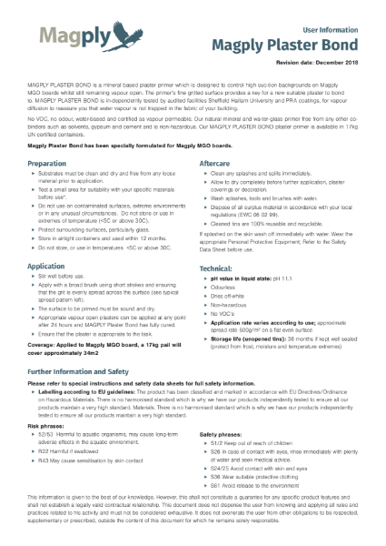 Magply Plasterbond Datasheet