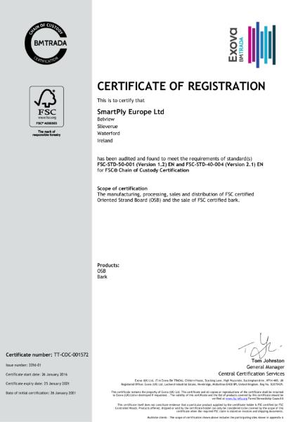 SmartPly Europe Ltd FSC 2016-01