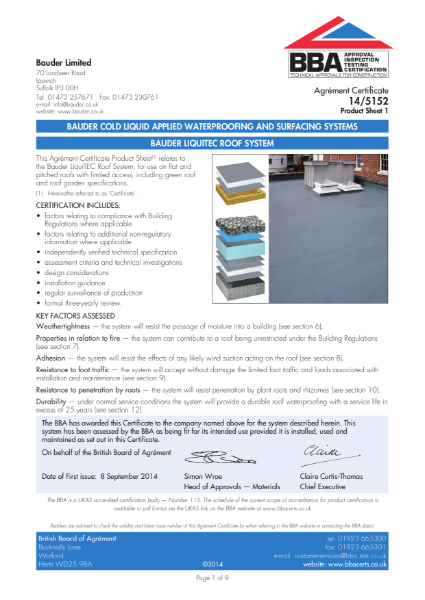 14/5152 Bauder Cold Liquid Applied Waterproofing and Surfacing Systems
