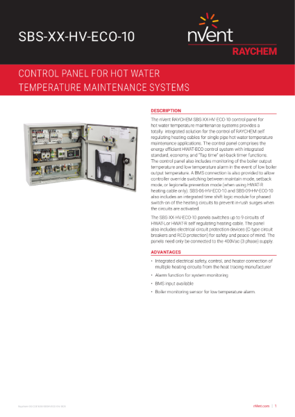 Single Pipe Hot Water Temperature Maintenance - Control Panel- HWAT System