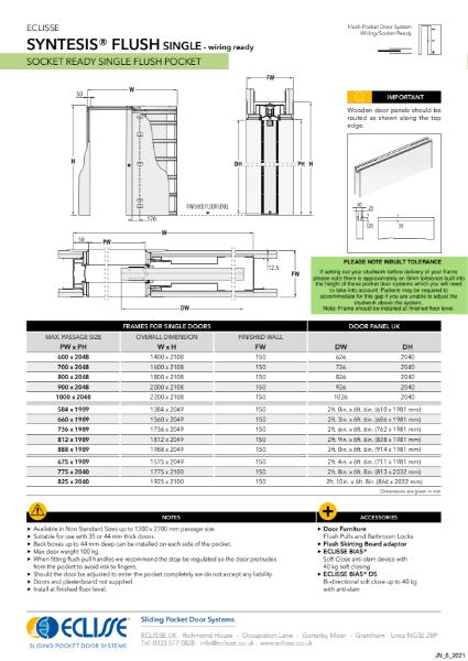 Syntesis® SINGLE Flush Pocket Door System Wiring Ready