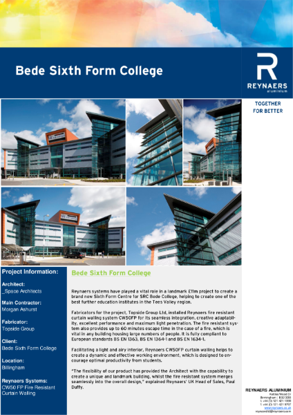 Case Study: Bede Sixth Form College, featuring CW 50-FP fire resistant curtain wall