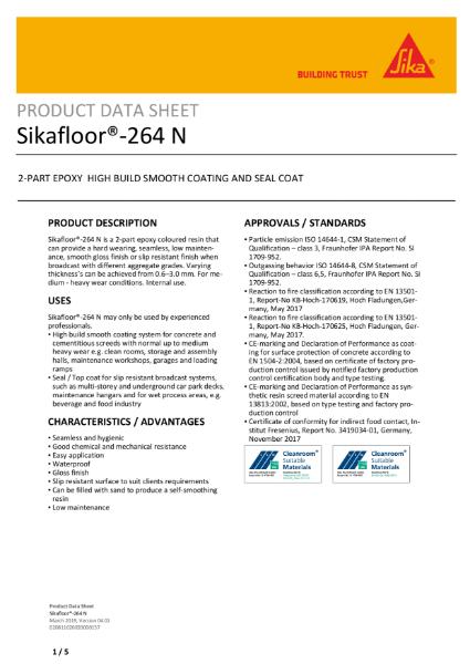 Sikafloor 264 epoxy roller and seal coat