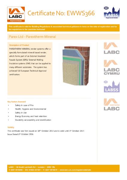 LABC Certificate (ParexTherm Mineral)