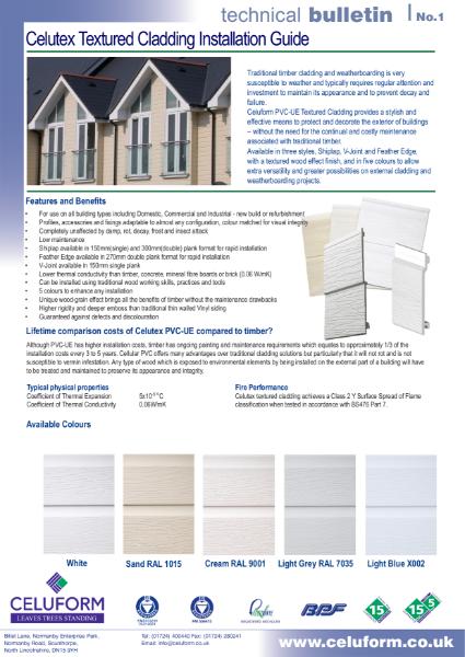 Technical Bulletin No.1 - Celutex Textured Cladding Installation Guide