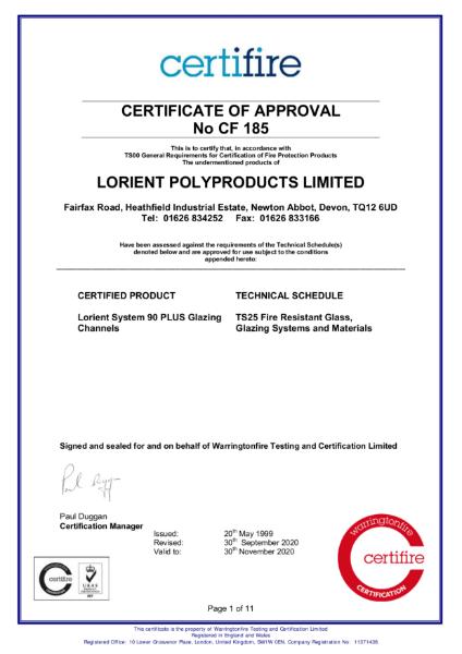 CF185 Certifire Certificate