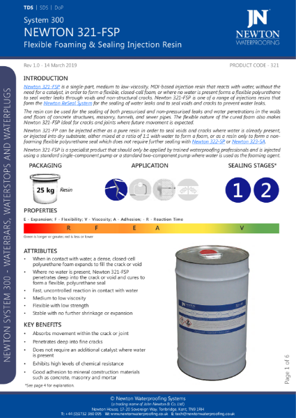 Newton 321-FSP Injection Resin Data Sheet