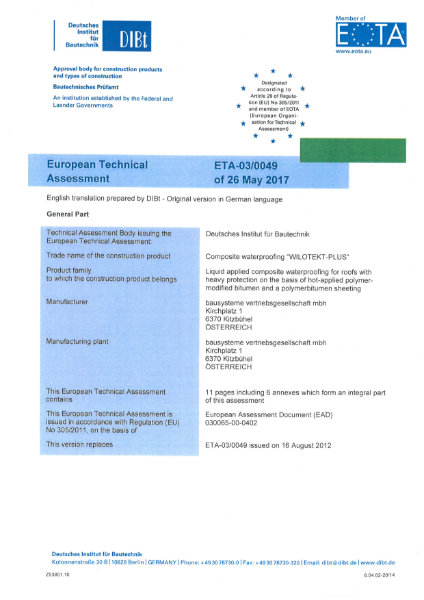 European Technical Approval document for Wilotekt-Plus system