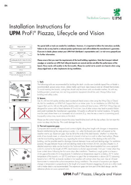 Installation Instructions for UPM ProFi® Piazza, Lifecycle and Vision