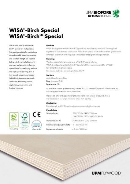 WISA-Birch Special & WISA-BirchLG Special Plywood