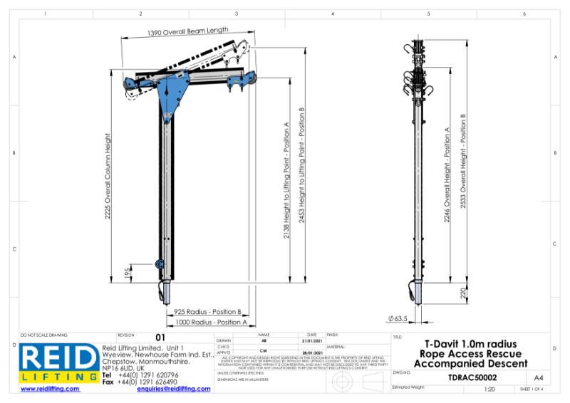 TDavit 1000mm Davit Arm For Rope Access Datasheet