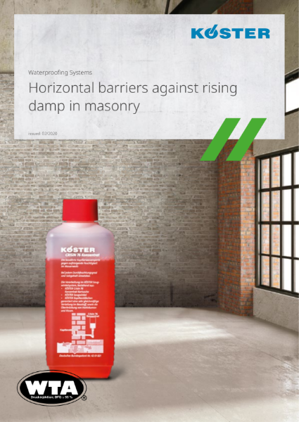Koster Waterproofing Systems: Horizontal Barriers Against Rising Damp in Masonry