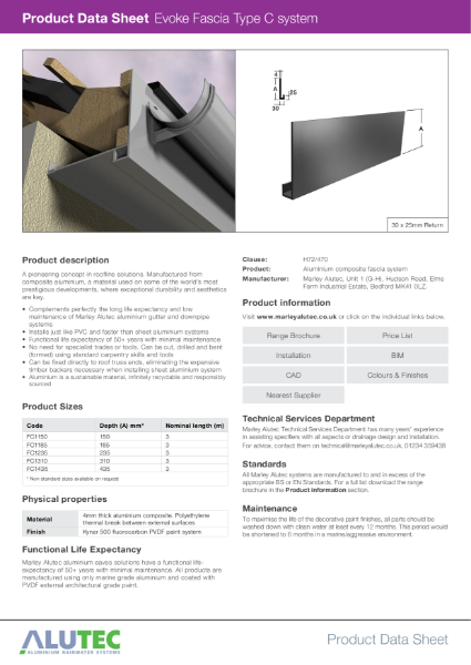 Marley Alutec Product Data Sheet Evoke Fascia Type C