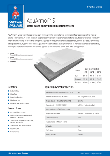 Resin flooring AquArmor S coating system