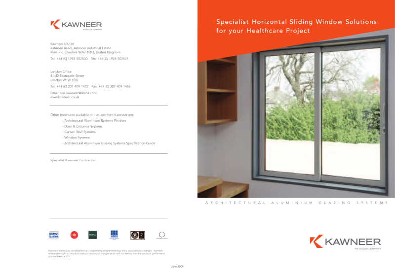 Kawneer Specialist Horizontal Sliding Window Solutions for your Healthcare Project Brochure