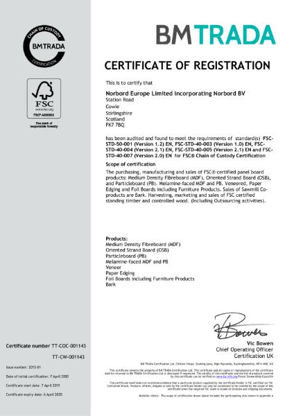 Norbord FSC Certificate Cowie
