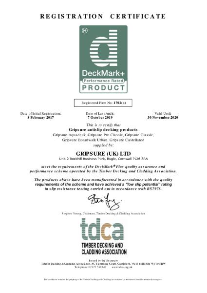 DeckMarkPlus Certificate