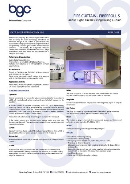 Fire Curtain - Fibreroll S - Smoke Tight, Fire Resisting Rolling Curtain