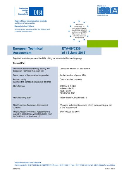 European Technical Assessment Jordahl Anchor Channel JTA - ETA-09/0338