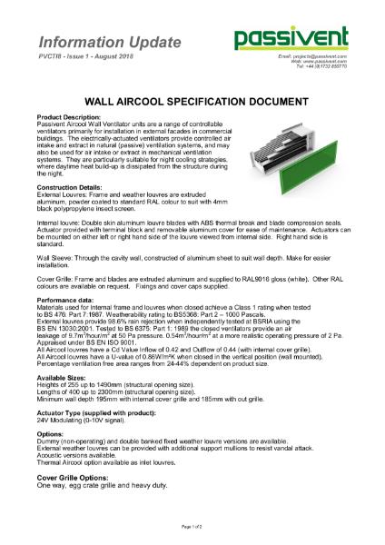 Passivent Specification Document - Aircool Wall Ventilator - Standard version