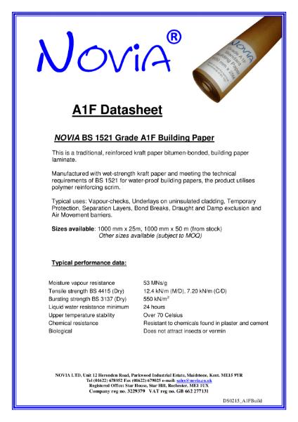 Novia A1F BS 1521 Building Papers
