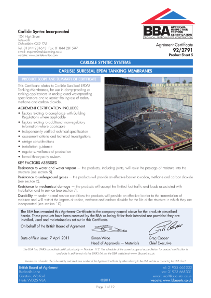 92/2791 Carlisle Surseal EPDM Tanking Membranes
