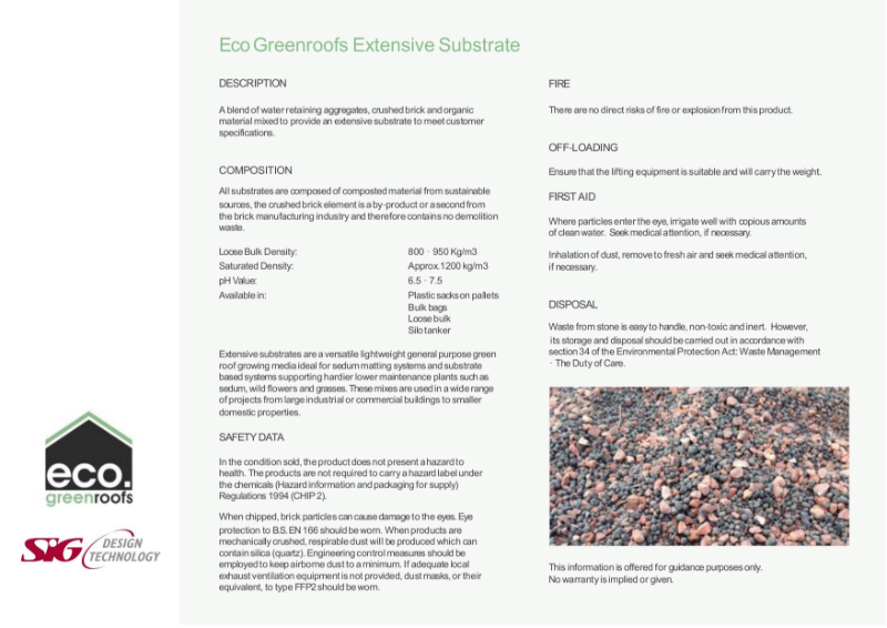 Eco Green Roofs Extensive Substrate Datasheet