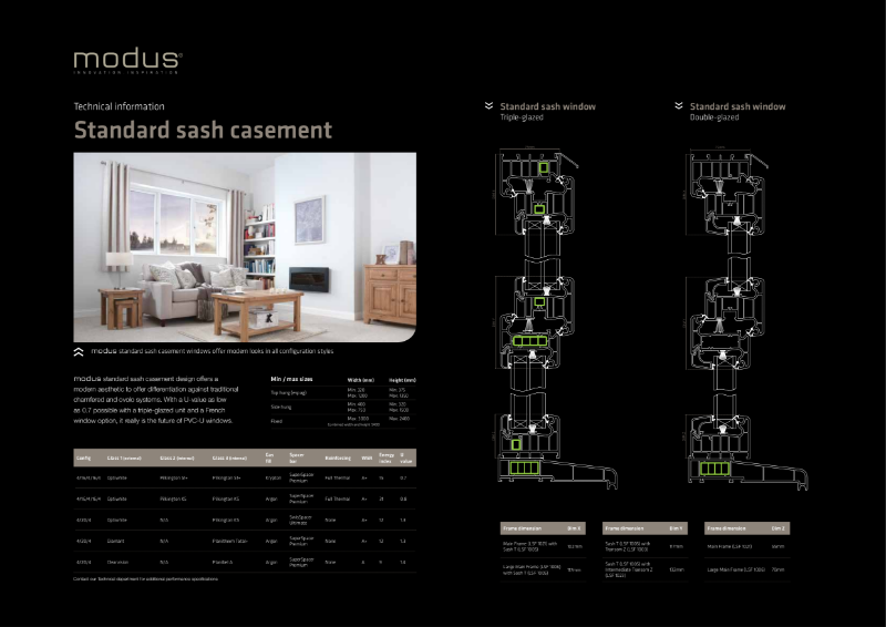 Modus Standard Sash Casement Technical Information