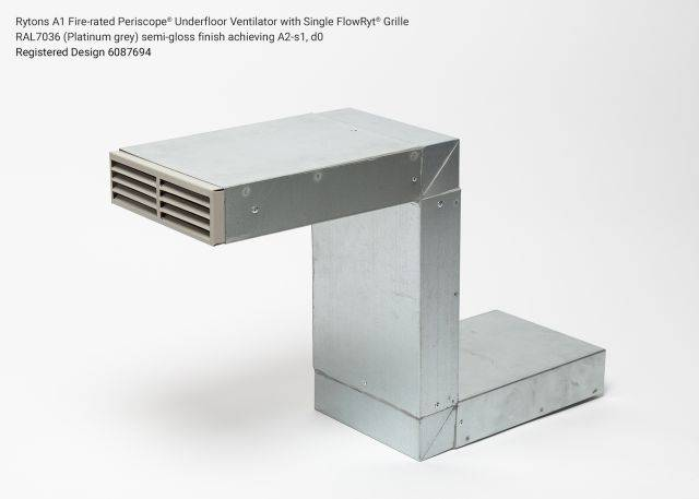 Rytons A1 Fire-rated Periscope® Underfloor Ventilator with Single Air Brick Grille