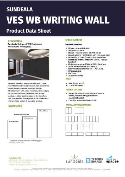 Sundeala VES Chalkboard Writing Wall - Product Data