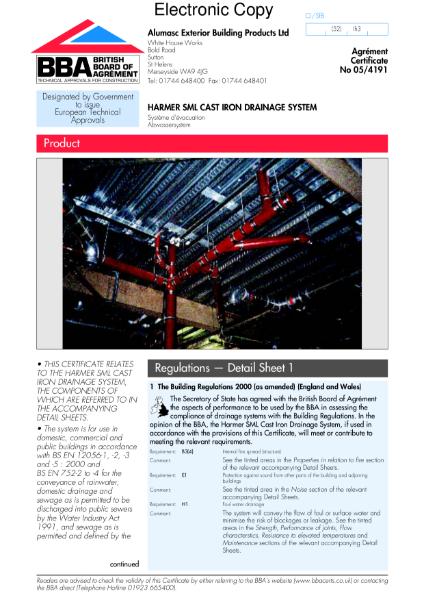 05/4191 Harmer SML cast iron drainage system
