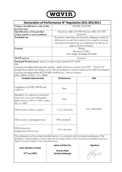 DoP - Air Admittance Valves BS EN 12380