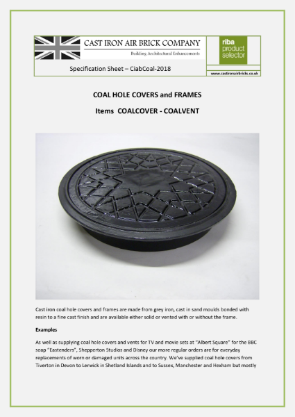 Cast Iron Coal Hole Covers