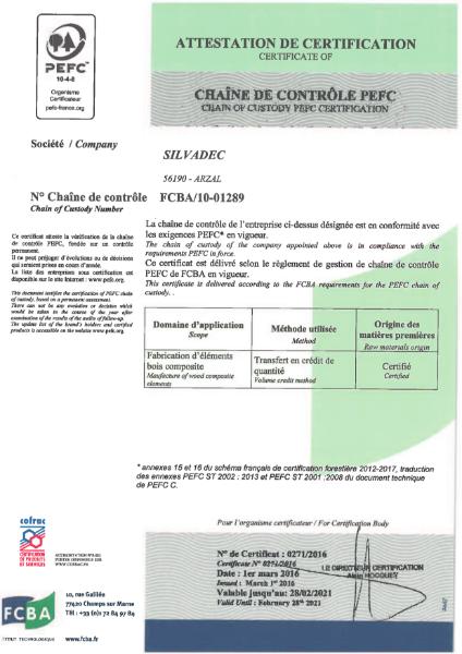Silvadec PEFC certificate