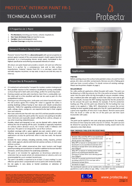 Protecta Interior Paint FR-1 - Fire Resistant Paint