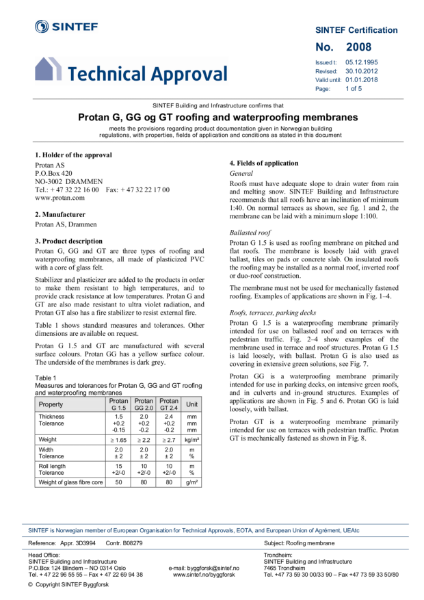 SINTEF Technical Approval 2008 for Protan G, GG and GT Membranes