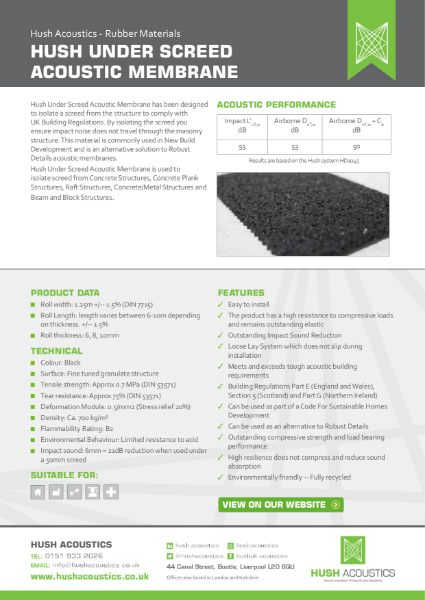 Hush Under Screed Acoustic Membrane