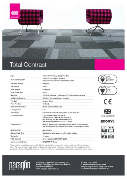 Paragon Carpet Tiles - Total Contrast - Specification Information