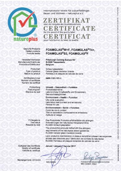 NATUREPLUS certificate FG